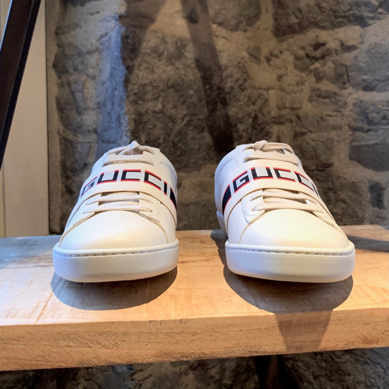Gucci White Ace Elastic Band Striped Logo Low-top Sneakers