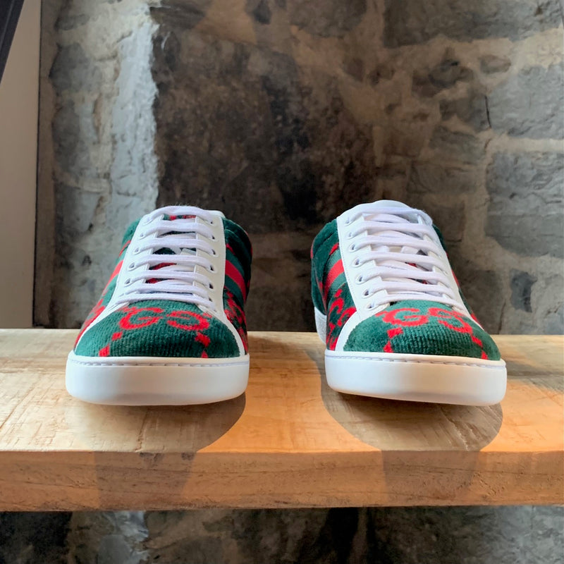 Gucci Green Red GG Ace Terry Cloth Sneakers