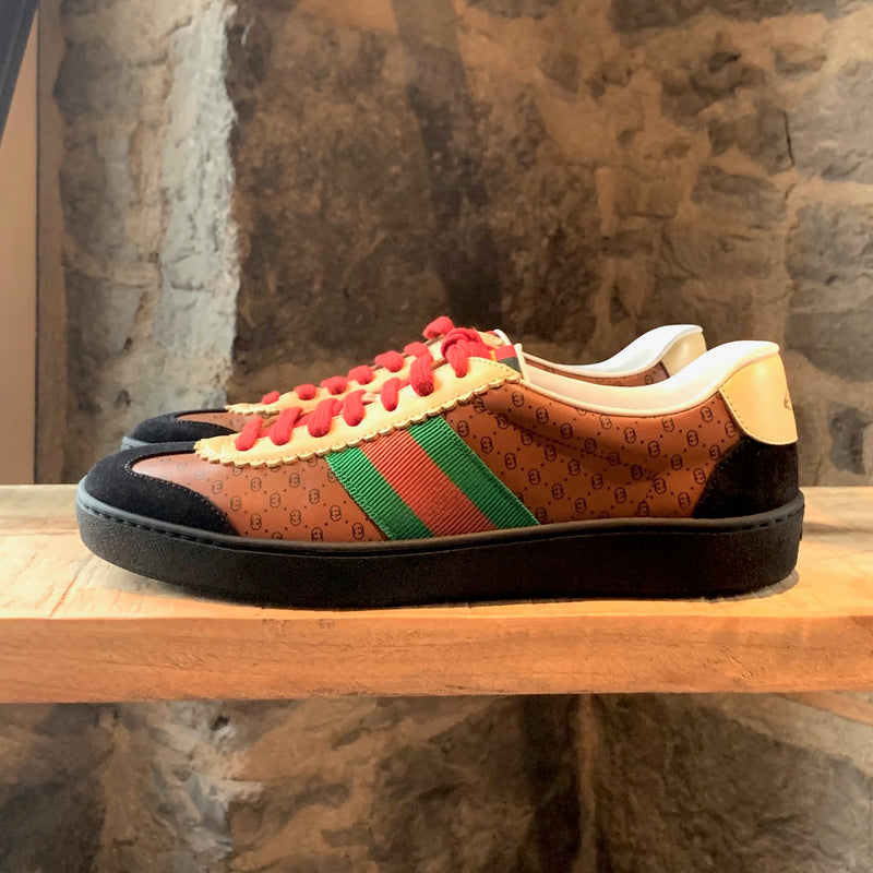 Gucci Dapper Dan GG Print Brown Black Web Sneakers