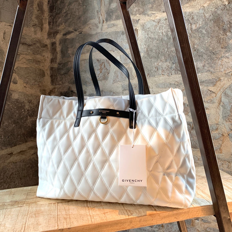 Givenchy Ivory Duo Shopper Losange Quilted East-West Tote Bag