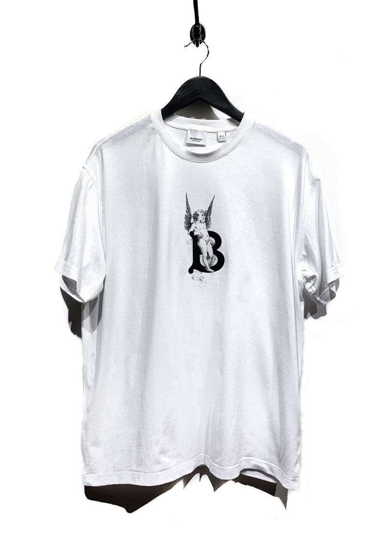 Burberry White Angel Print B Logo T-shirt