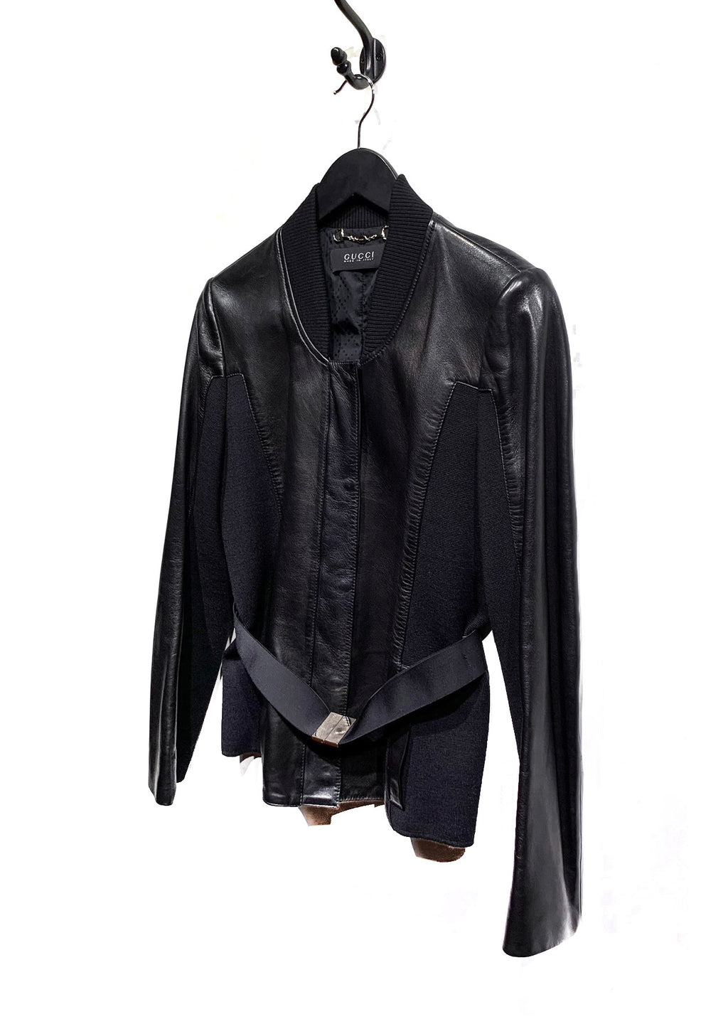 Gucci Black Leather Ribbed Insert Belted Jacket