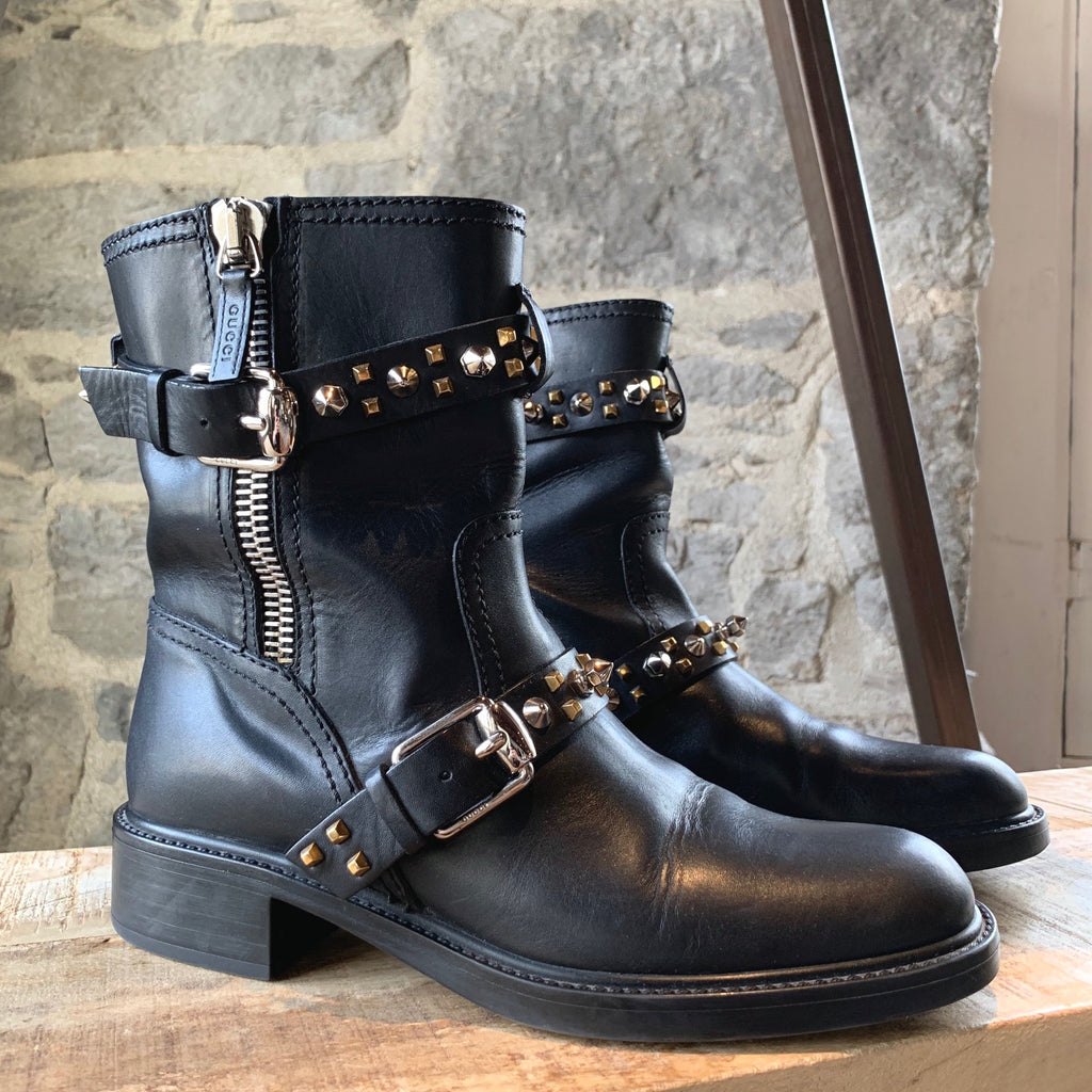 Gucci Black Leather Studded Biker Boots