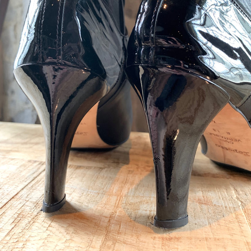 Repetto Black Patent Leather Accent Wrap Buckled Heeled Booties