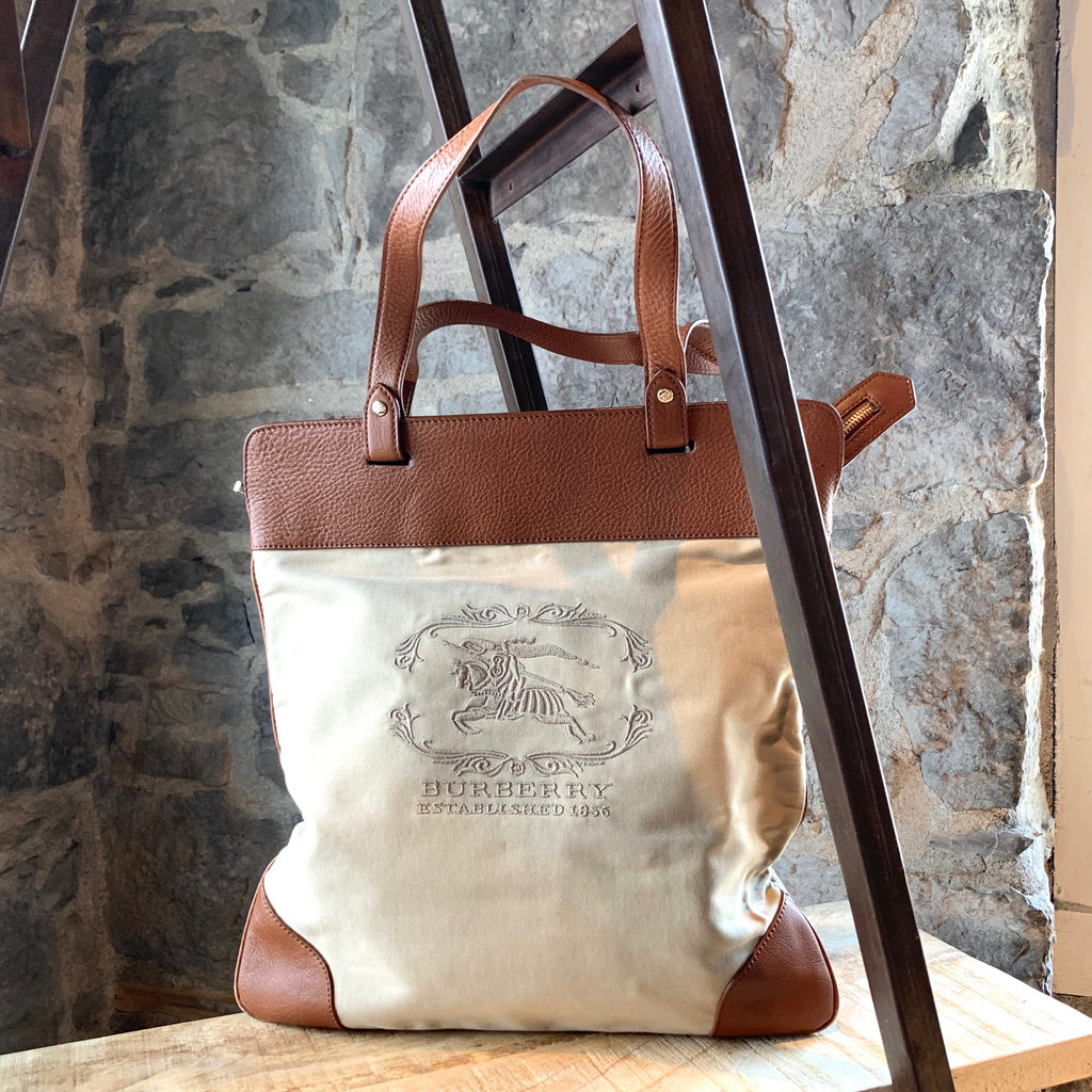 Burberry Tan Leather Beige Canvas Stowell Rolled-up Tote