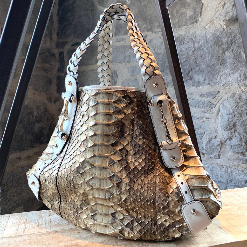 Gucci Medium Beige Pelham Snakeskin Shoulder Bag