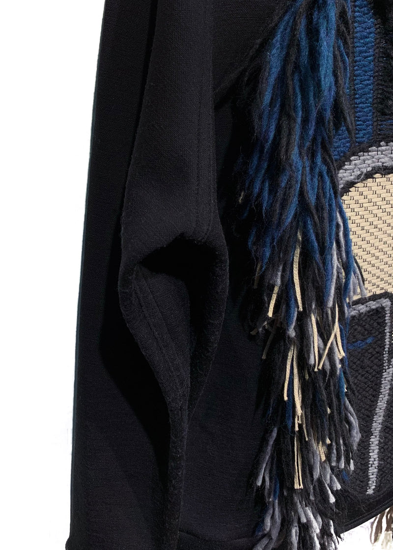 Lanvin Black Fringed Mask Embroidered Sweater