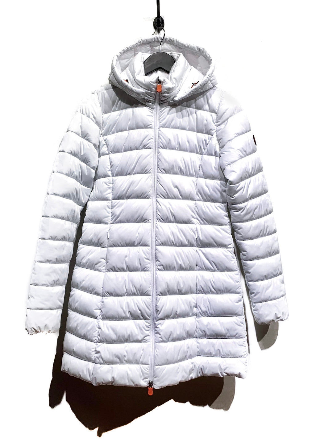 Save The Duck White Hooded Quilted Long Coat