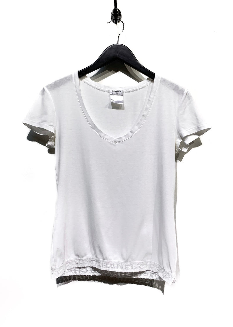 Chanel White Logo Embroidery Tee