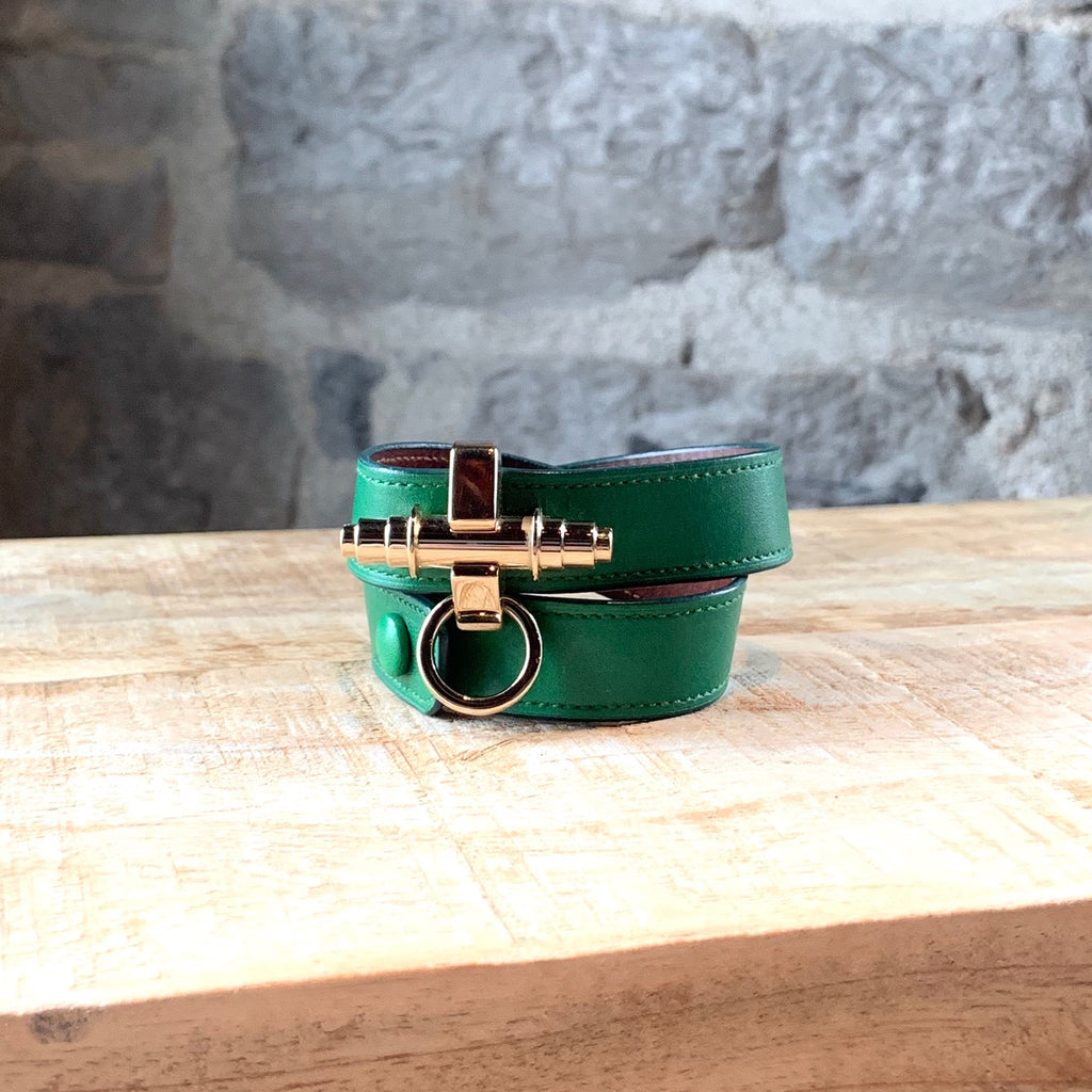 Givenchy Green Leather Obsedia Double Wrap Bracelet