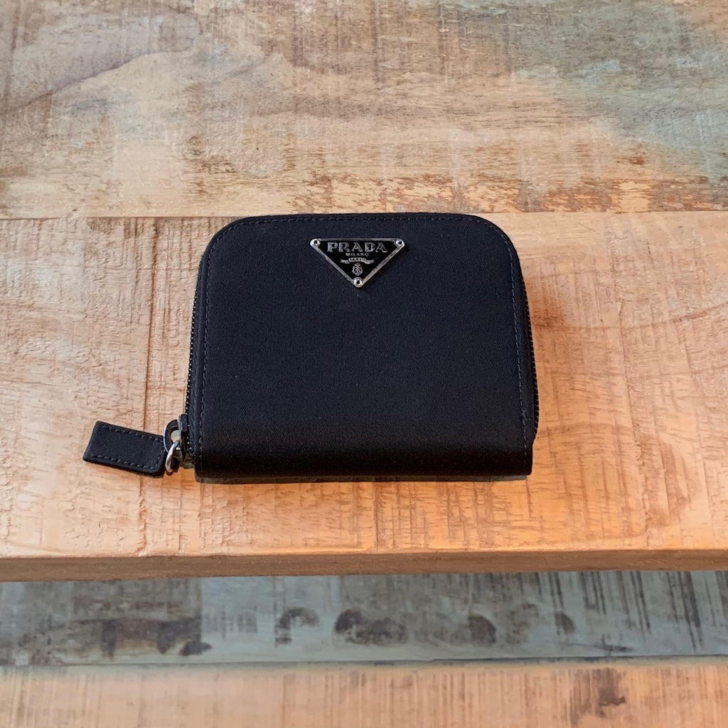 Prada Black Tessuto Nylon Zip-around Compact Wallet