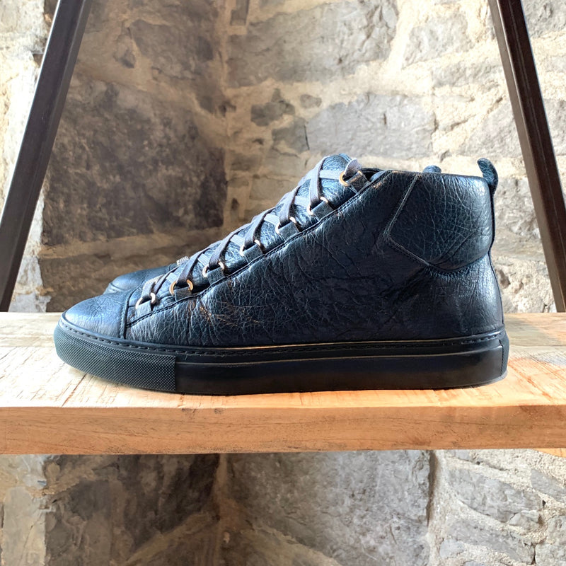 Balenciaga Petrol Blue Leather Arena High-top Sneakers