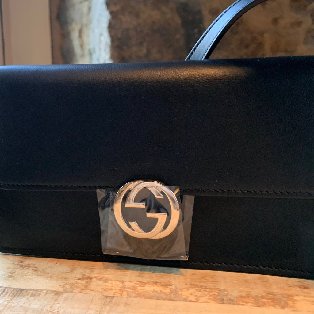 Gucci Black Leather Moon Wallet On Strap