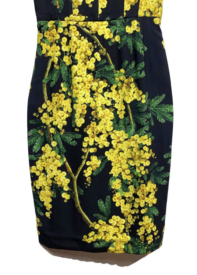 Dolce & Gabbana Black and Yellow Floral Prints Bustier Dress