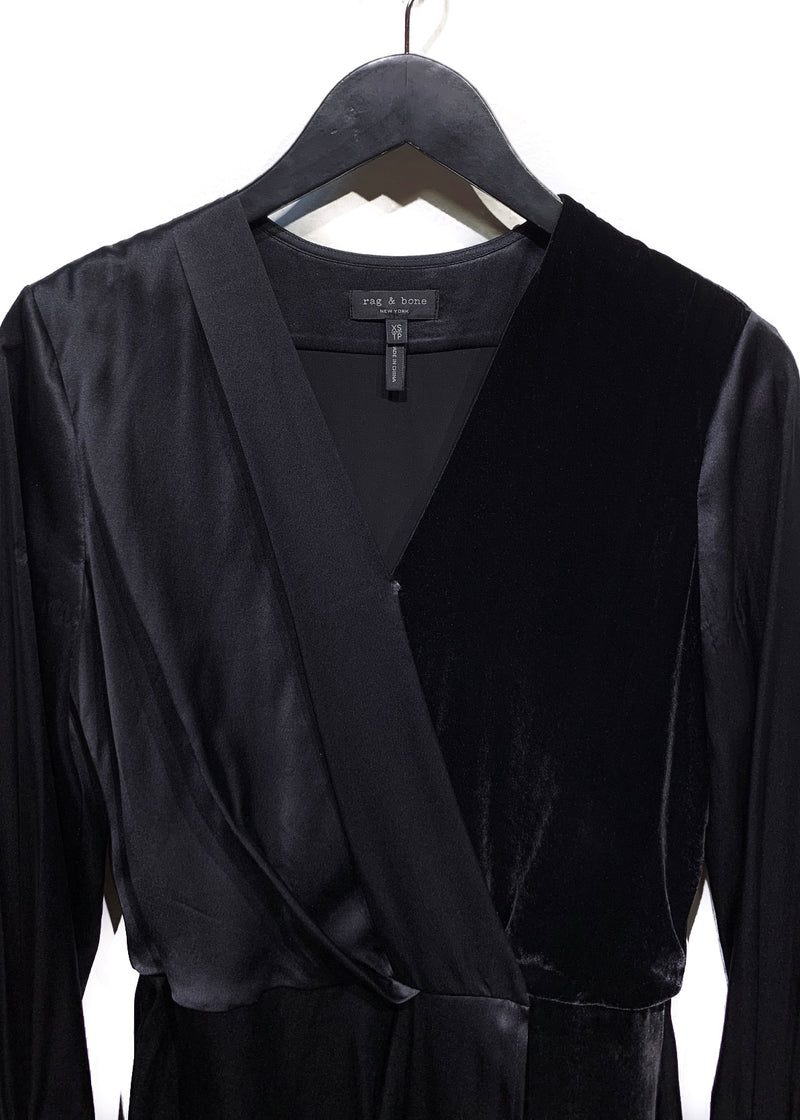 Rag & Bone Victor Black Silk and Velvet Dress