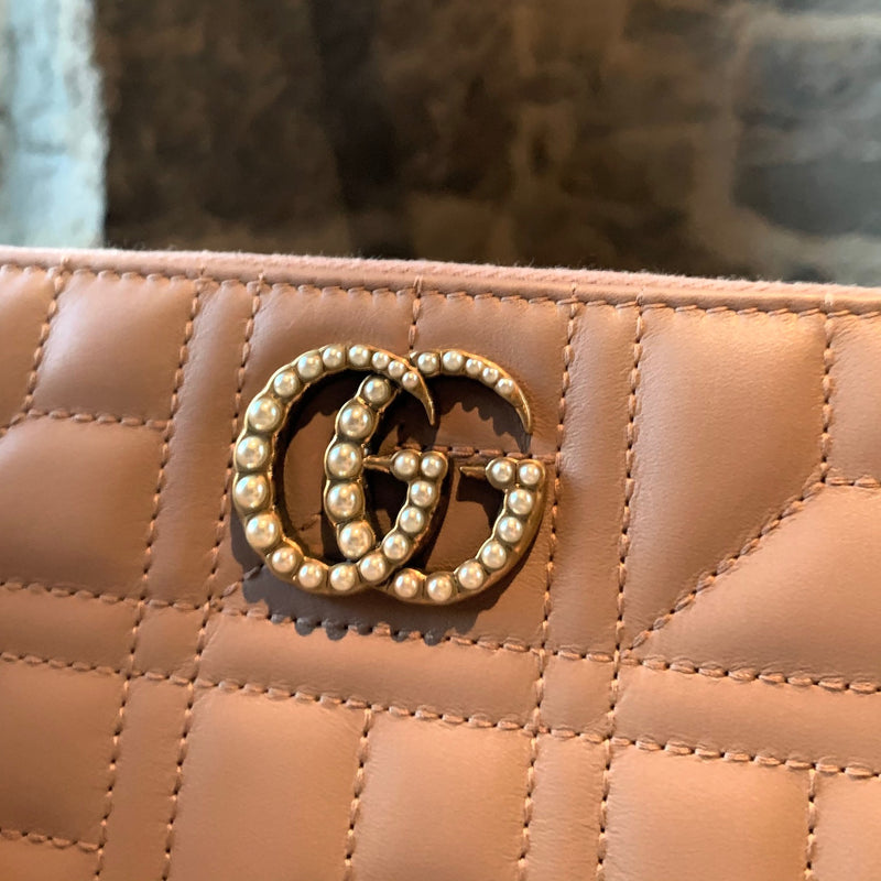 Gucci Porcelaine Rose Leather Marmont GG Pearl Quilted Zip Wallet