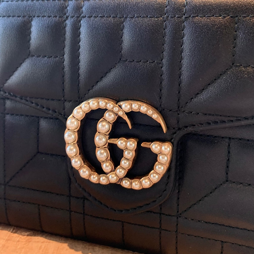 Gucci Black Leather Marmont GG Pearl Quilted Wallet on Chain Bag