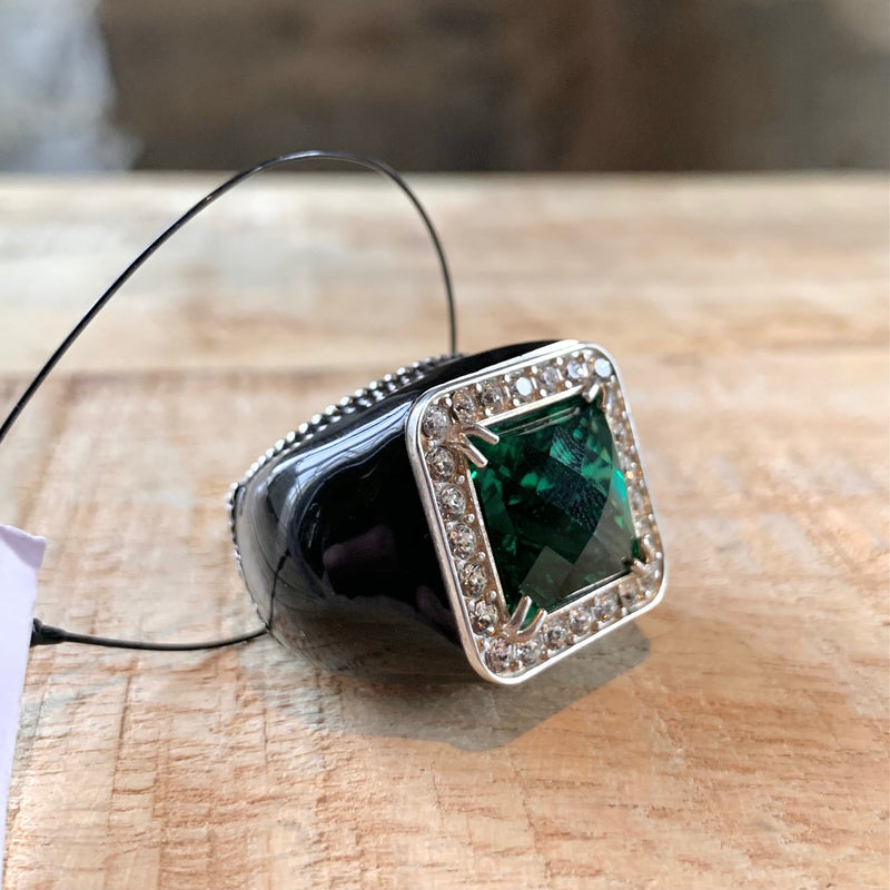 Gucci Black Enamel Crystal GG Cocktail Ring