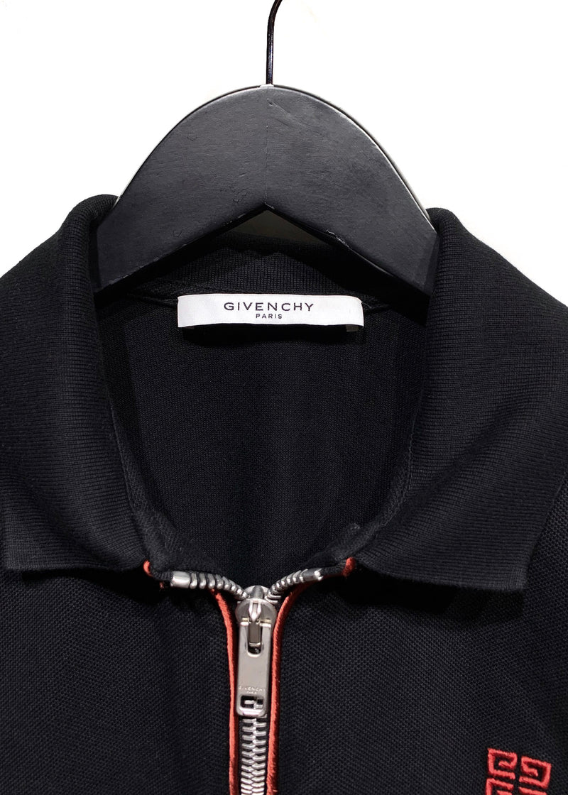 Givenchy Black Zip Logo Embroidered Polo With Velvet Detail