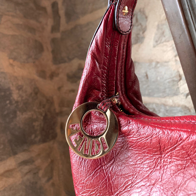 Fendi Red Leather Chef Chain Hobo Bag