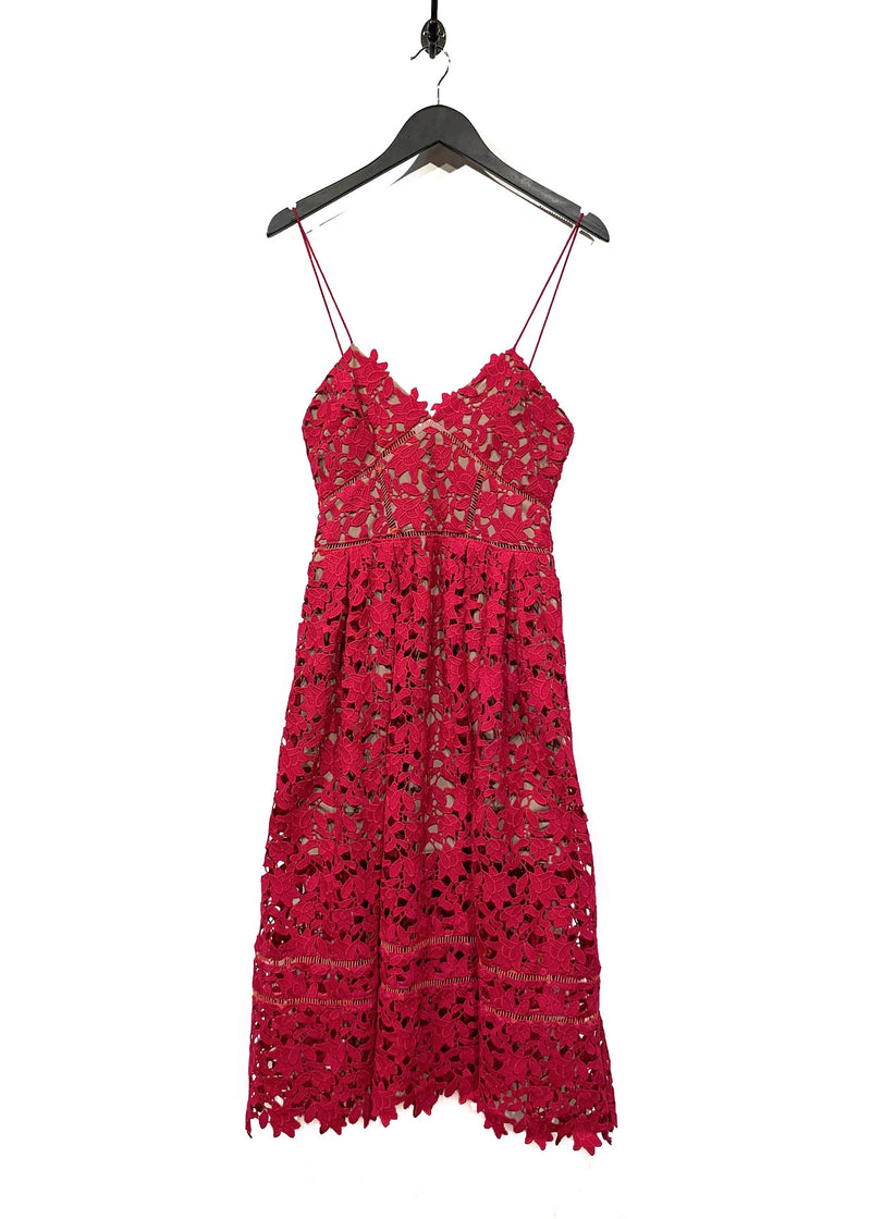 Self-Portrait Rapsberry Lace Flower Azaelea Dress