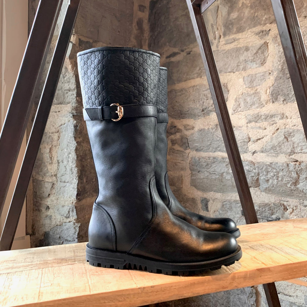 Gucci Black Leather Microguccissima Pull-on Boots