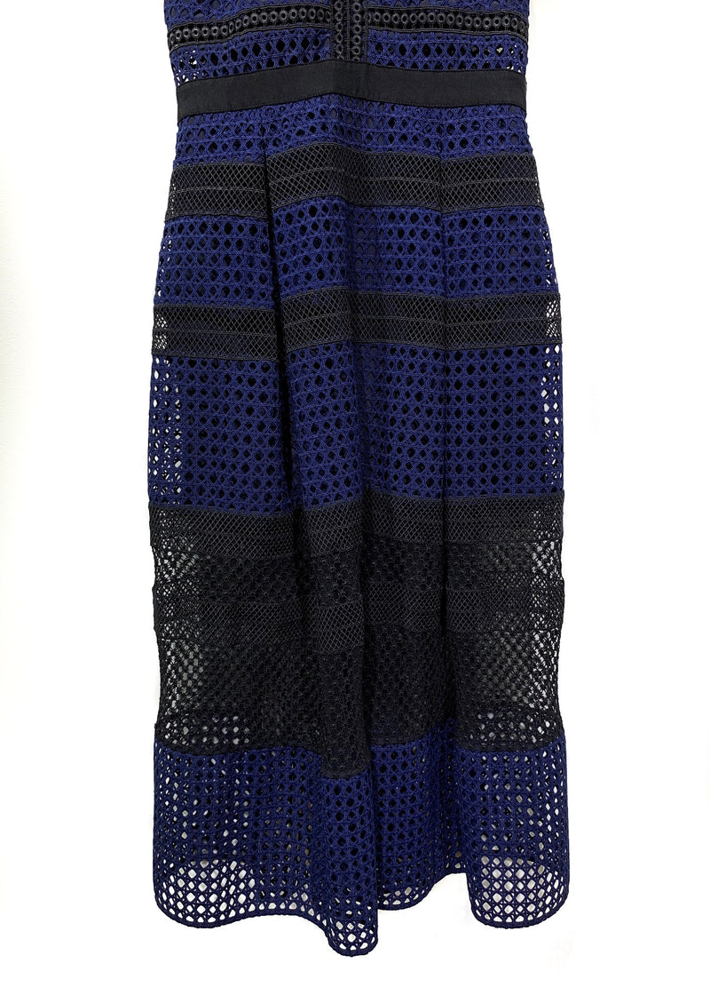 Self-Portrait Black Blue Crosshatch Long Lace Dress