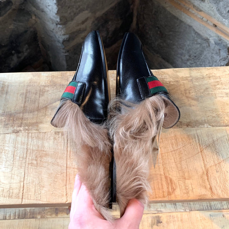 Gucci Black Leather Princetown GG Fur Slip On Loafers