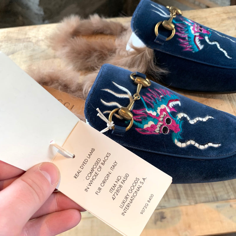 Gucci Blue Velvet Dragon Embroidered Princetown Fur Slipper Loafers