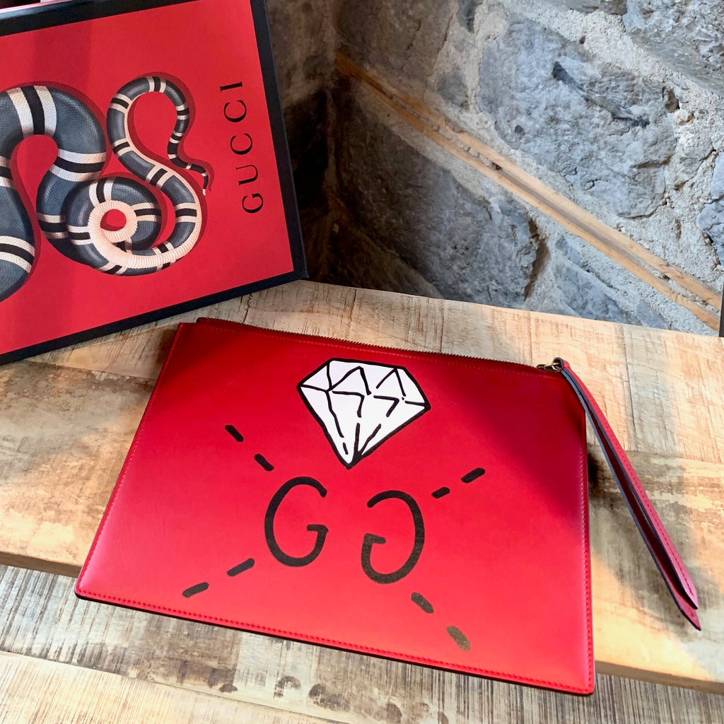 Gucci Red Diamond Ghost Leather Clutch