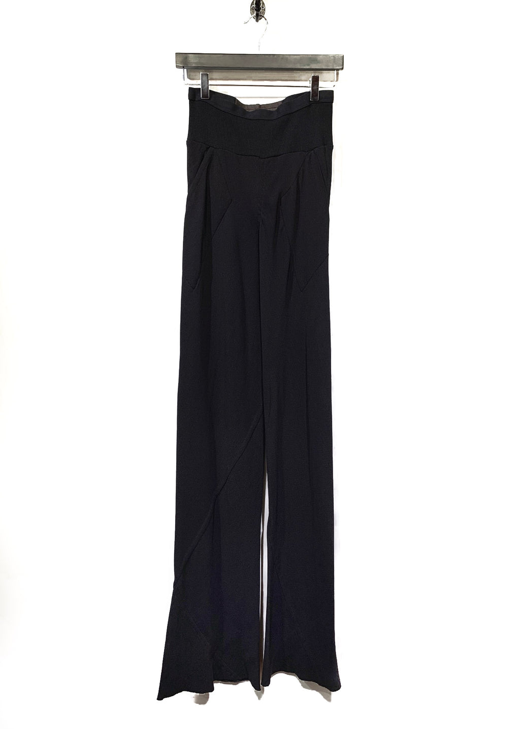 Rick Owens Black Silk High Waist Flare Trousers