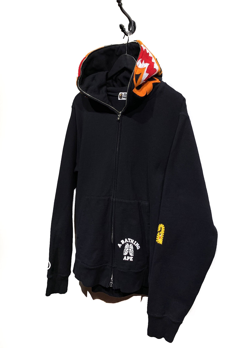 Bape Black Tiger Shark Funthera Militia Embroidered Zip-up Hoodie