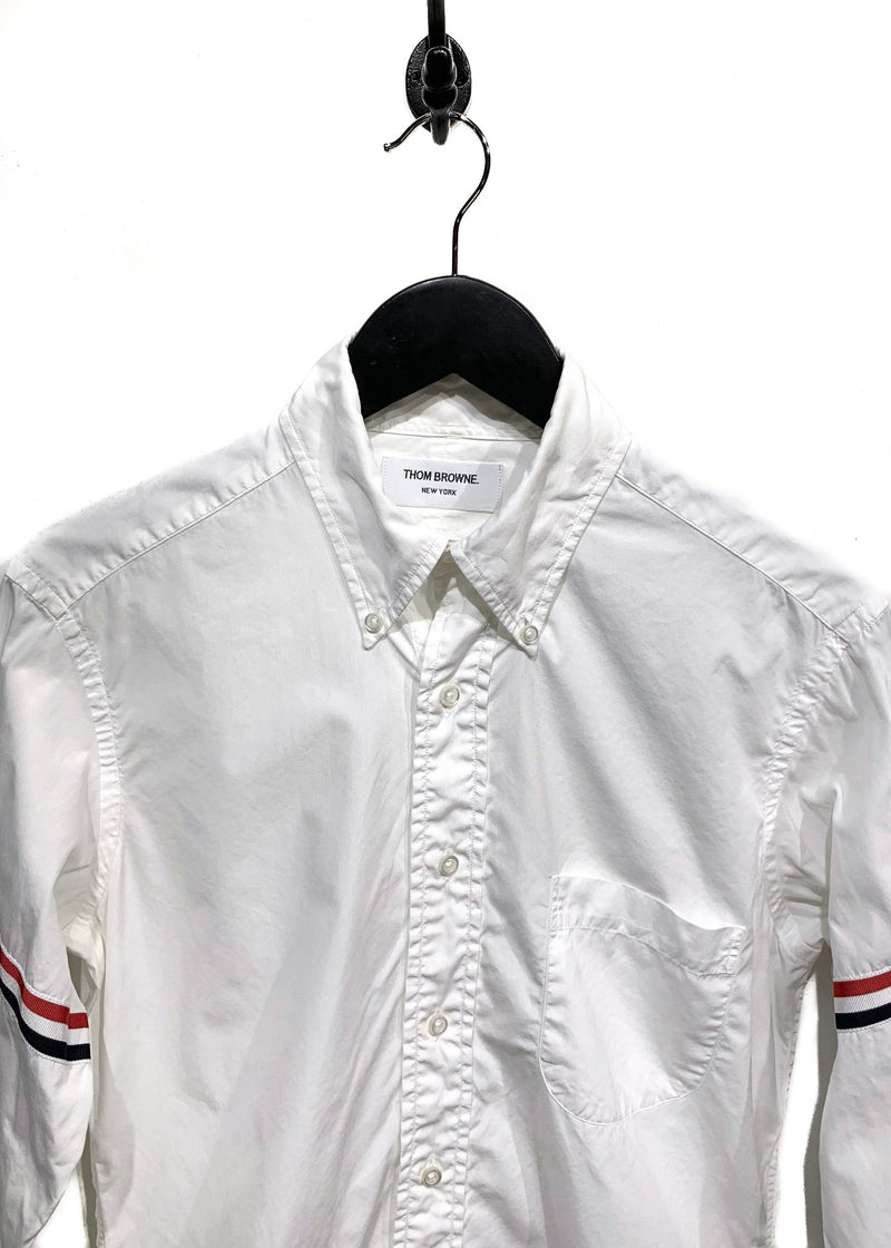 Thom Browne White Grosgrain Armbands Button Down Shirt