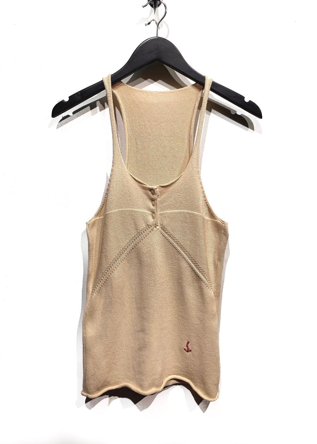 Balenciaga SS07 Beige Cotton Knit Anchor Tank Top