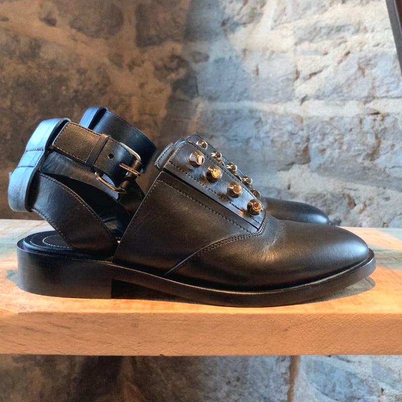 Balenciaga Black Leather Cut-Out Stud Oxfords