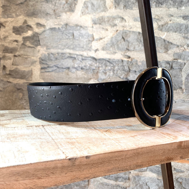 Jaeger Black Leather Wide Belt
