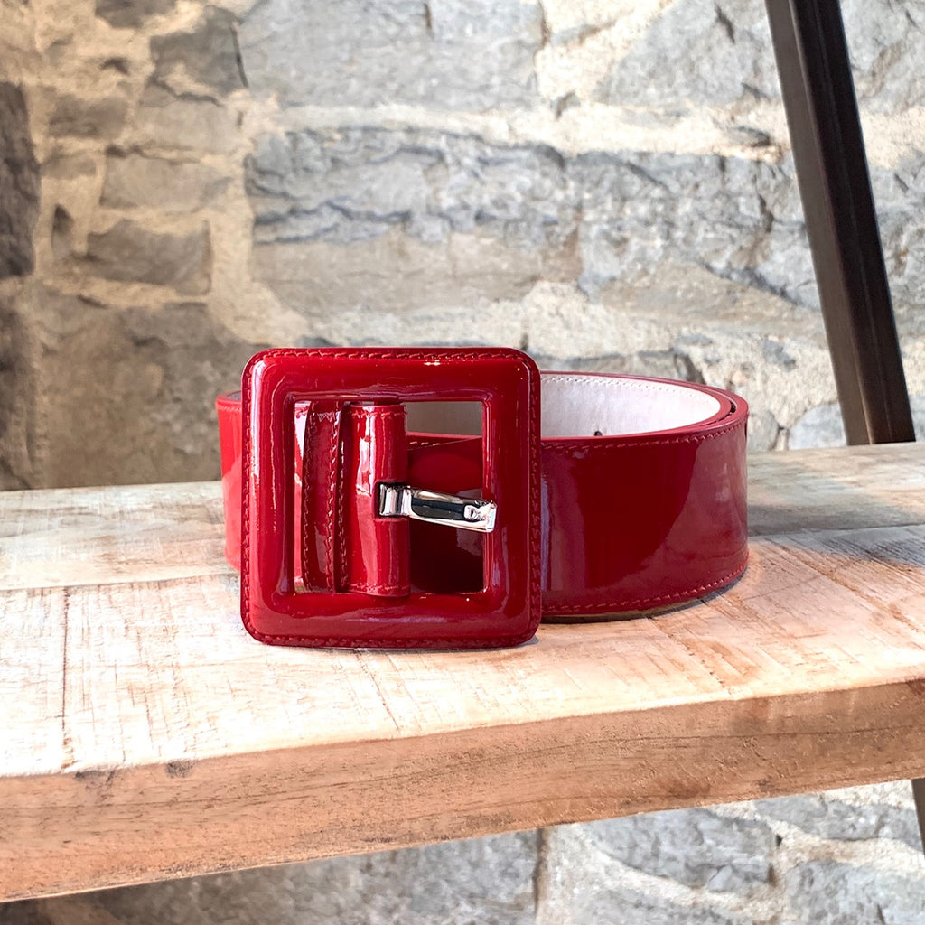 Christian Dior Red Patent Leather Square Buckle Belt