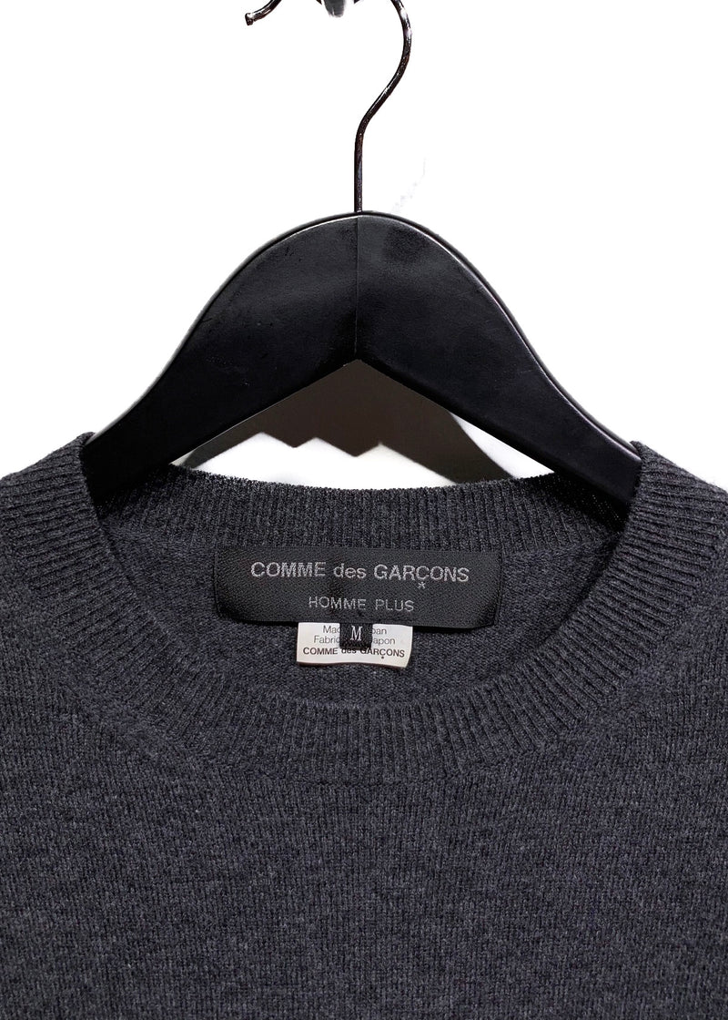 Comme Des Garçons Charcoal Ivory Embroideries Wool Sweater
