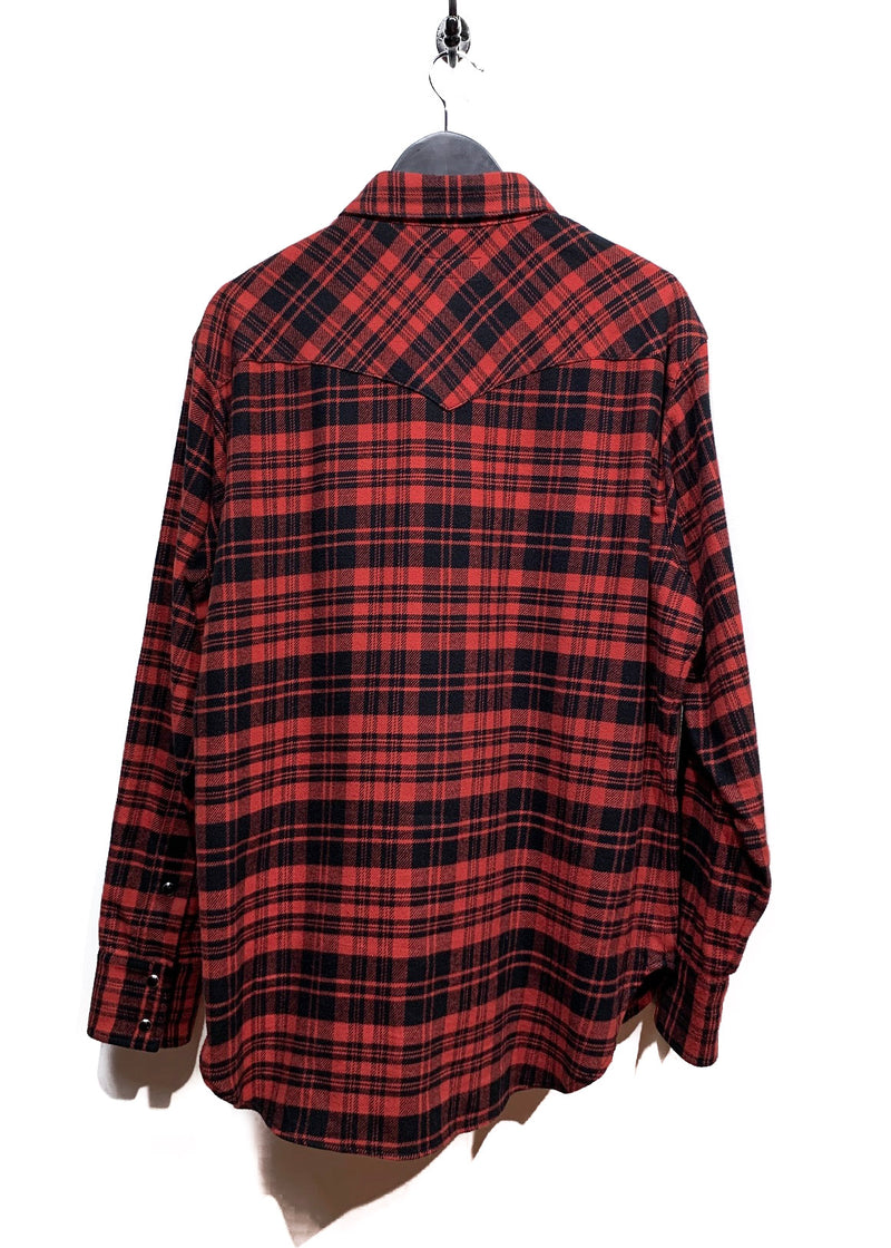 Saint Laurent Red and Black Check Flannel Shirt