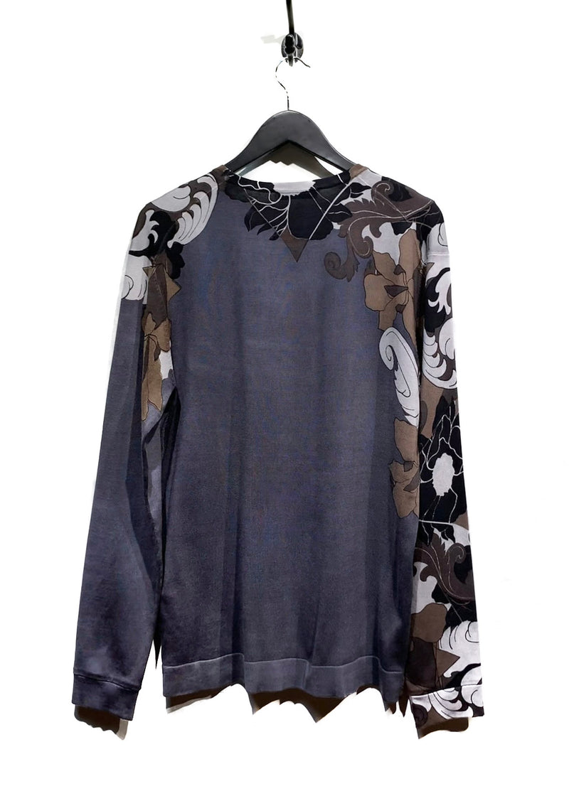 Versace Grey Silk Paisley Patterns Sweater