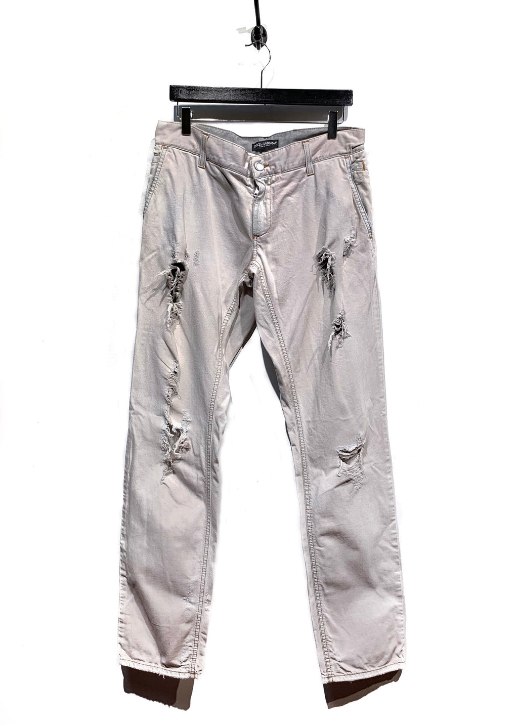 Dolce & Gabbana Light Grey Washed Out Destroyed Jeans