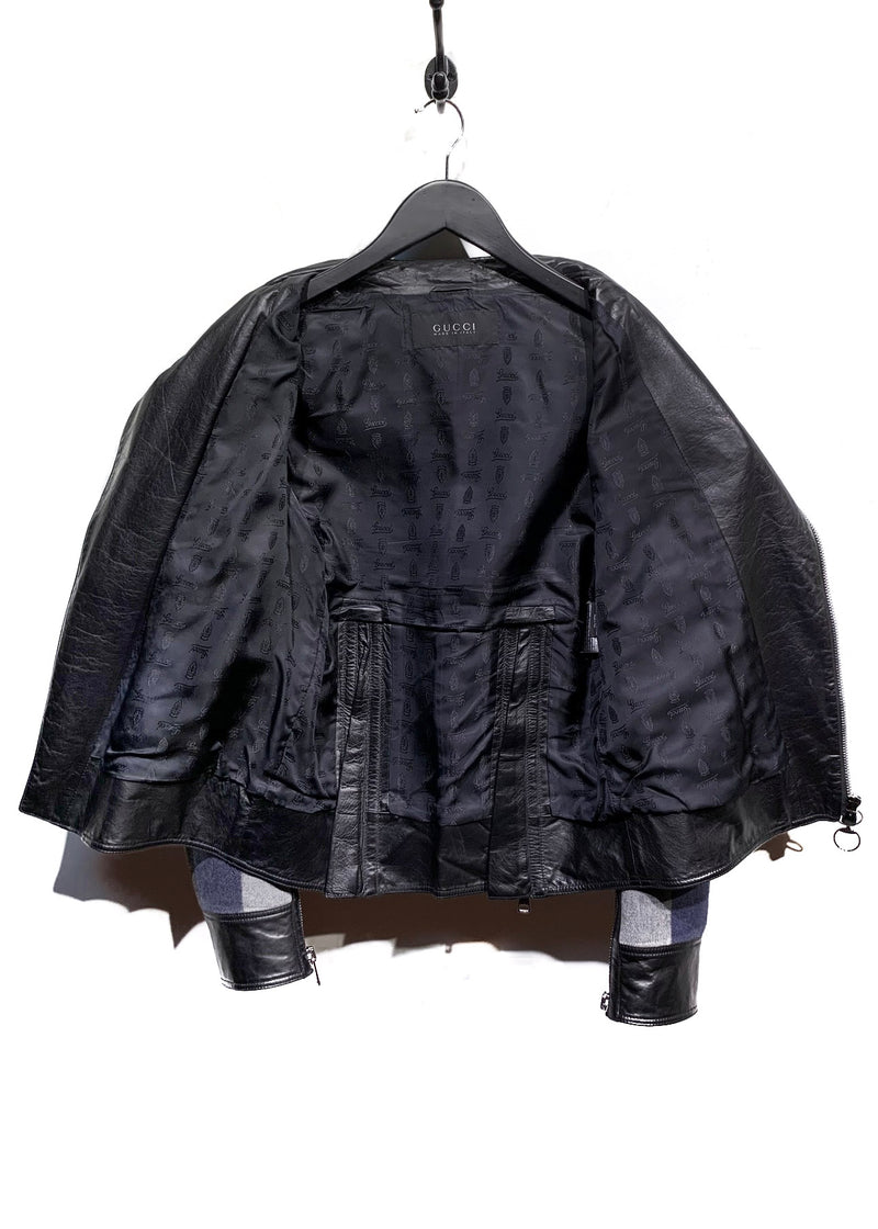 Gucci Leather Jacket With Contrasting Plaid Wool Sleeves
