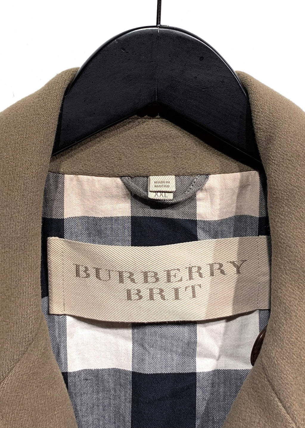 Burberry Brit Olive Green Double-Breasted Peacoat