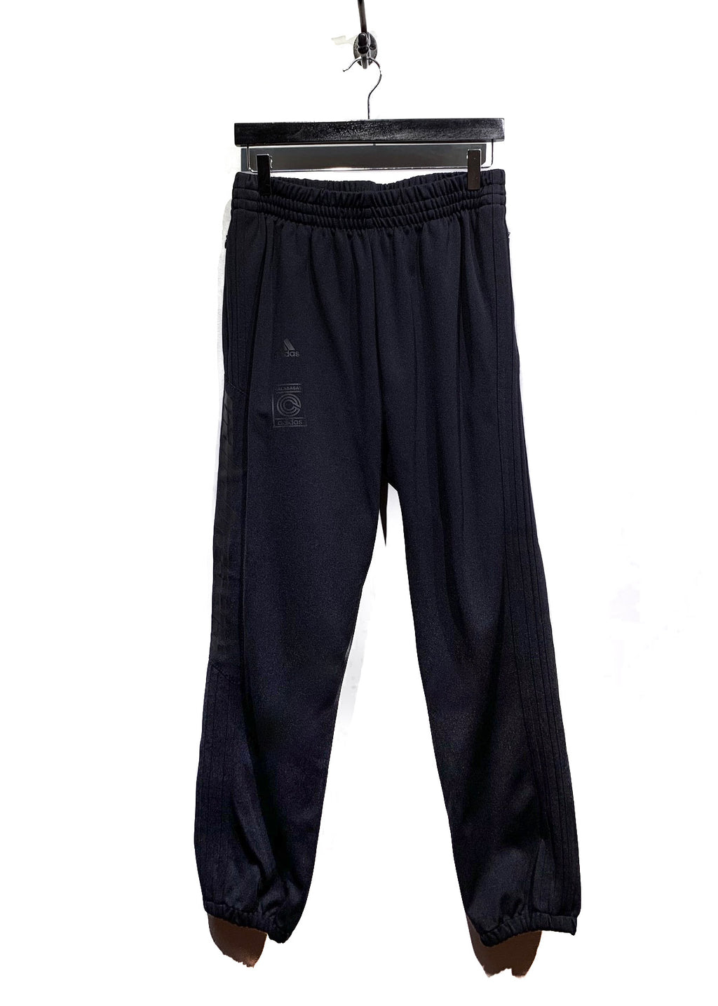 Adidas Black on Black Calabasas Logo Striped Track Pants