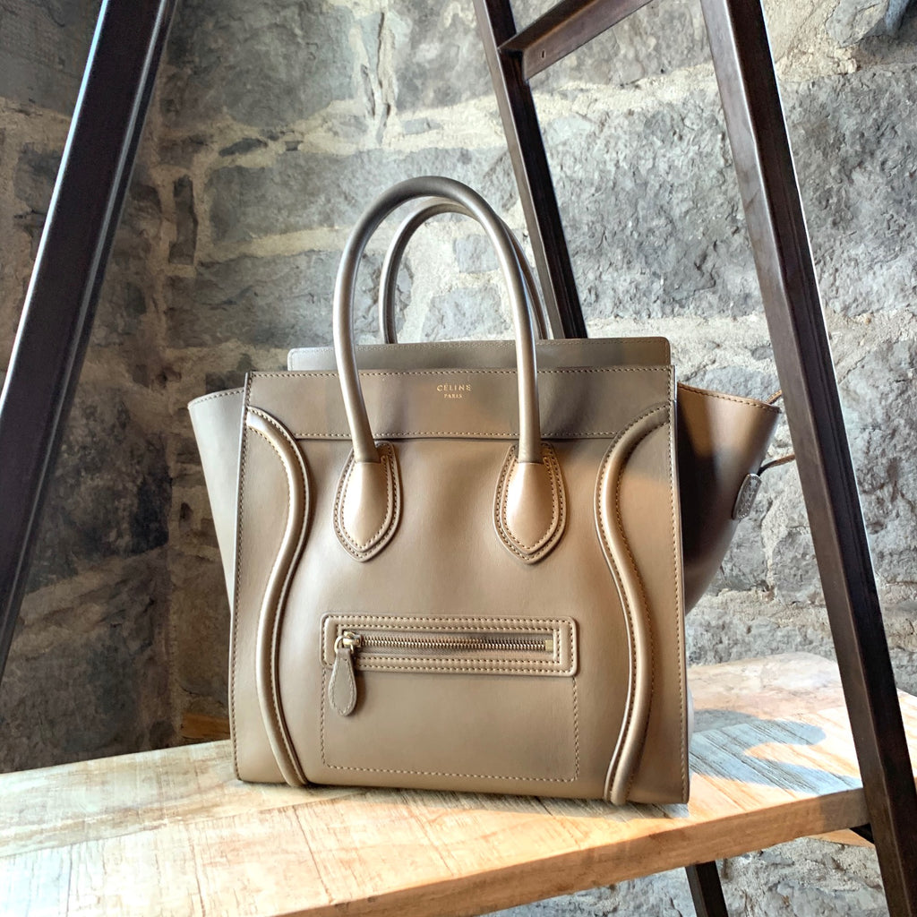 Céline Taupe Mini Luggage Smooth Leather Handbag