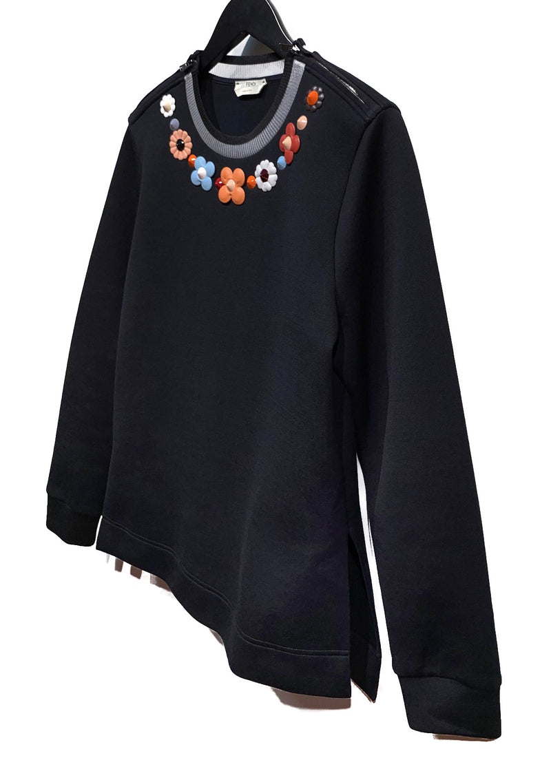 Fendi Black Flowers Appliqués Sweatshirt