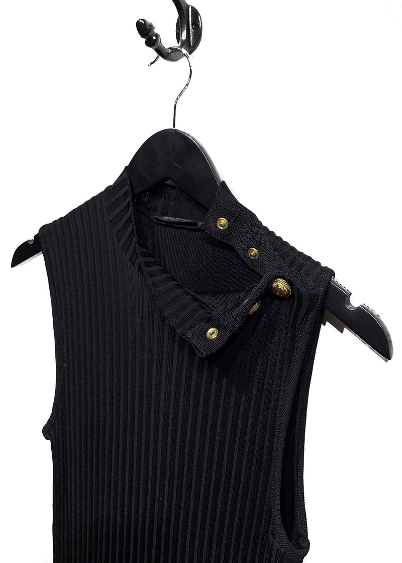 Balmain Black Ribbed-Knit Button Details Dress