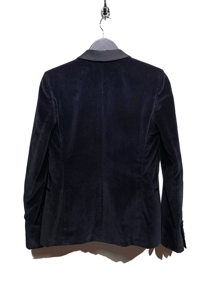 Saint Laurent Black Velvet Satin Lapel Tuxedo Blazer