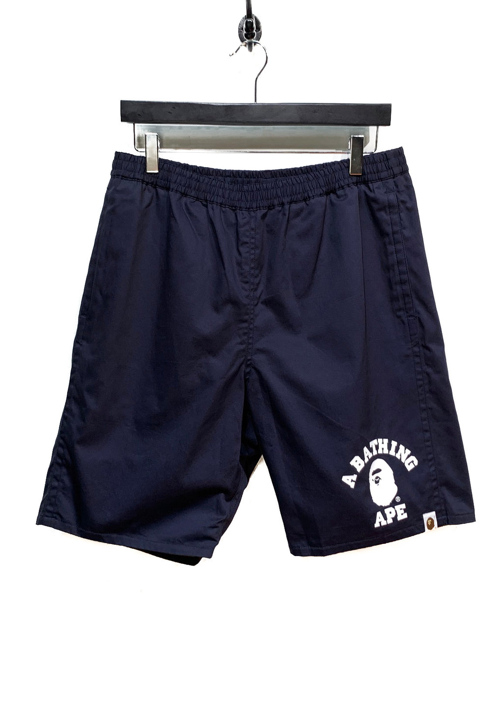 Bape Navy Cotton Camo Polyester Reversible Swimwear Shorts