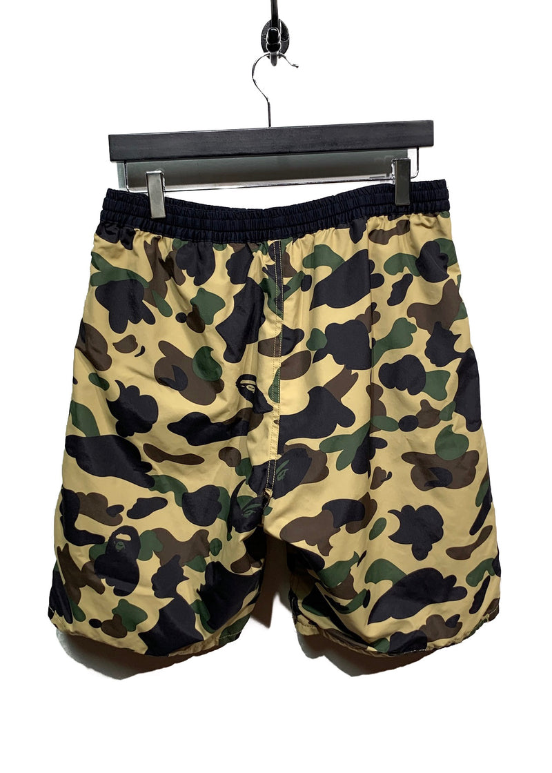 Bape Black Cotton Camo Polyester Reversible Swimwear Shorts